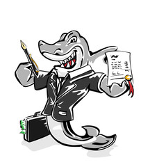 Vector-character, Hai mit Geldkoffer Vertragsabschluss