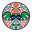 Polish floral embroidery with roosters folk pattern - 50896921