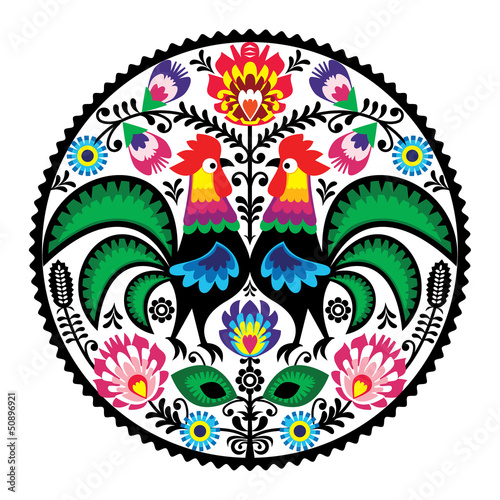 Polish floral embroidery with roosters folk pattern