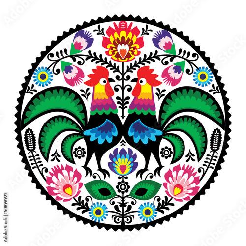 obraz PCV Polski haft z kwiatowym wzorem ludowej Koguty