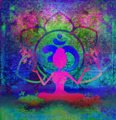Yoga lotus pose - abstract background
