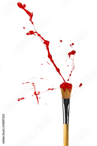 Red paint bursting from paintbrush