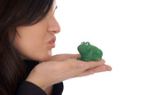 pretty woman kissing a frog