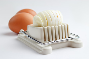 Egg slicer and boiled eggs