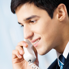 Portrait of businessman or call center worker