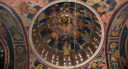 The interior of the Orthodox Church of St. Panteleimon, island o