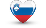 Heart-shaped icon with national flag of Slovenia