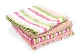 Colorful kitchen towels isolated on white background