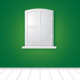 Vector  white window with green wall