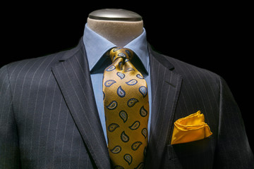 Gray Striped Jacket, Blue Shirt, Patterned Yellow Tie & Handkerc