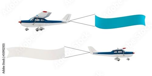 3d plane pulling advertisement banner