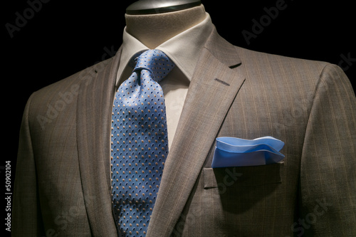 Tan Striped Jacket, Textured White Shirt, Patterned Blue Tie & H