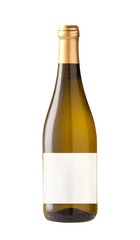 Wine bottle isolated with blank label.