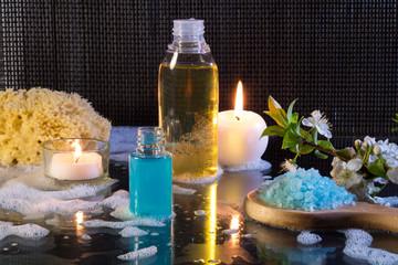 preparazione al bagno con schiuma e candele