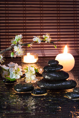 fiori di mandorla con candele e pietre nere