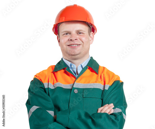 Worker in uniform close-up isolated