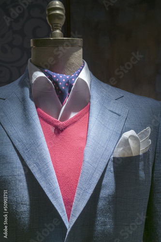 Light Blue Checkered Jacket With Red Sweater, Shirt, Tie & Handk