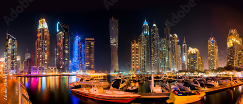 Fotobehang Dubai Dubai Skyline by night