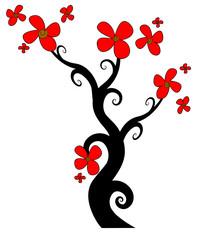 l'albero fiorito di rosso