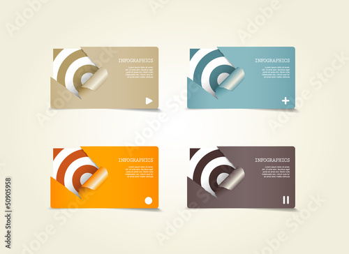 Four colored paper notes with place for your own text.