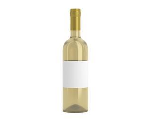 Weinflasche Beige Kappe gold mit Etikett
