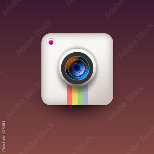 User interface white camera lens icon
