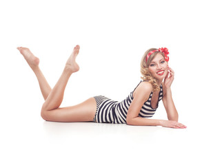 young pinup woman isolated on white