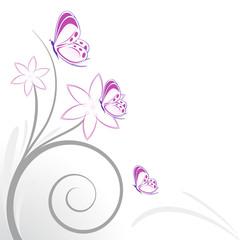 sfondo decorazione fiori rosa e farfalline