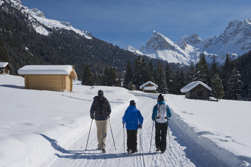 Family Hiking on a snowy Trail