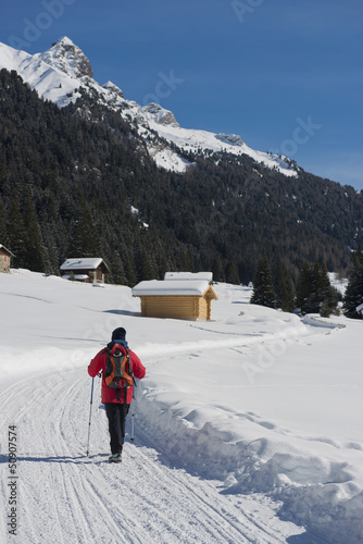 Hiker on a snowy Trail
