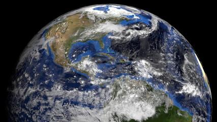Cuban flag on pole on earth globe animation