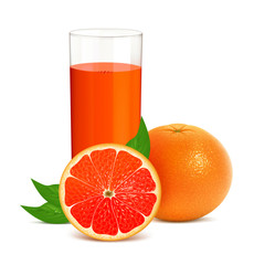 Fresh grapefruits with juice