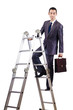 Businessman climbing career ladder on white