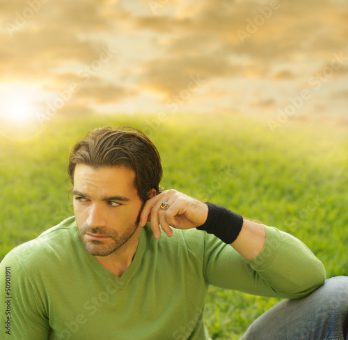 Man with grass and sky