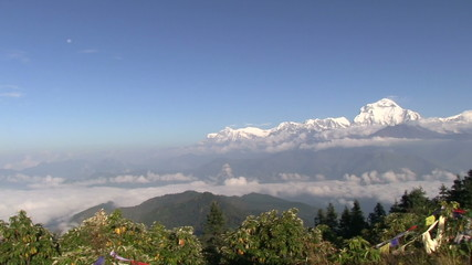 Long pan to Machapuchare, Annapurna Region, Poon Hill, Nepal.
