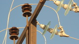 Low-voltage power line. Wires, insulators