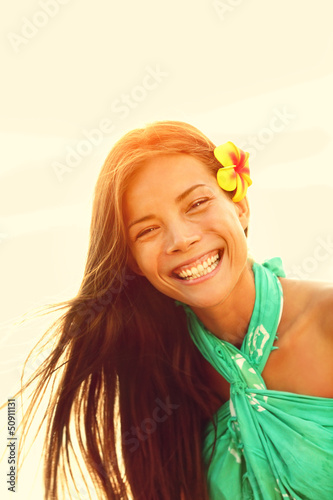 Sunshine smiling summer girl laughing happy