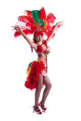 Attractive samba dancer posing in studio