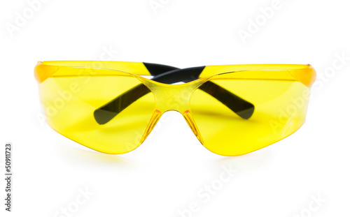 yellow safety glasses isolated on white