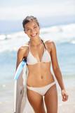 Summer beach woman having fun portrait
