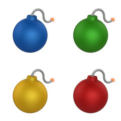 3D model of bomb in four color set isolated on white