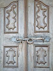 Old wooden door with lock color image