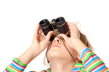 A girl looking up through a small binocular isolated