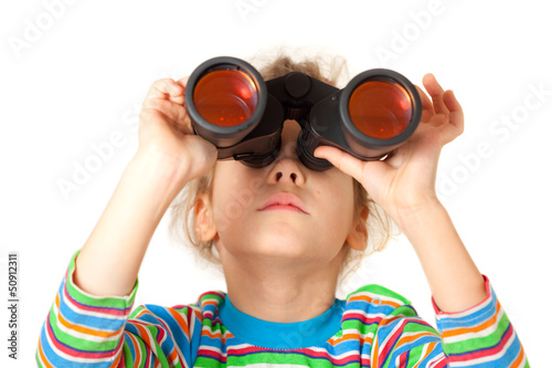 A girl looking up through binocular isolated