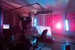 canvas print picture - room in the purple light with equipment for a film