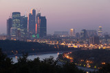 Evening cityscape of skyscrapers in Moscow