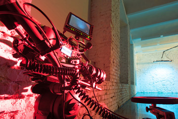 A red light camera in the studio for shooting video