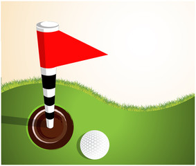 Golfball on green background