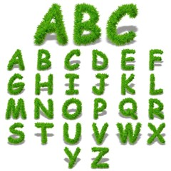 Conceptual set of green grass eco font isolated