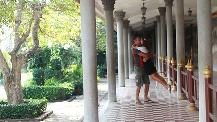 Young couple in the temples of Phnom Penh